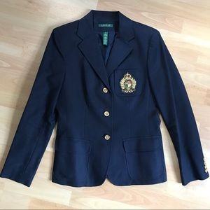 LAUREN Ralph Lauren Crested Navy Blazer